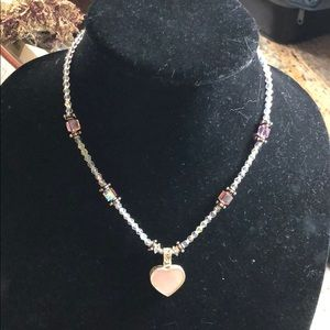 Handmade crystal and sterling necklace.